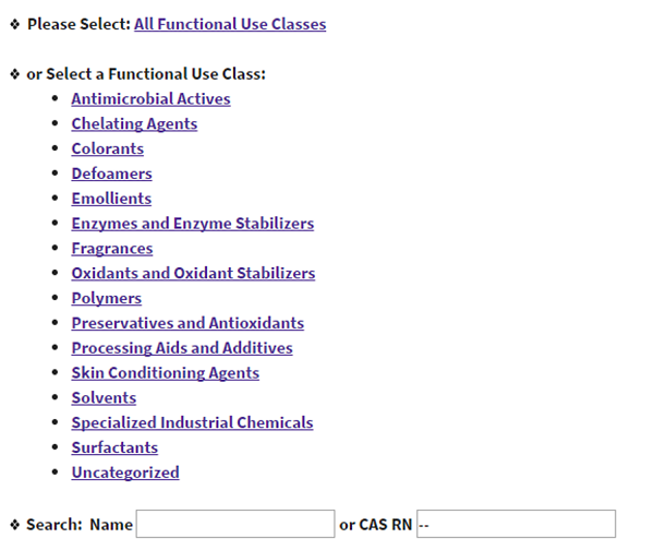 US EPA - Safer Chemical Ingredients List